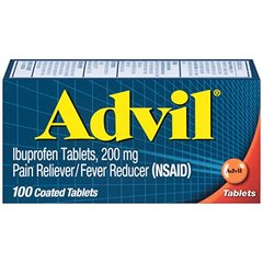 Advil (100 Count) Pain Reliever / Fever Reducer Coated Tablet, 200mg Ibuprofen, Temporary Pain Reli