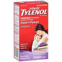 Tylenol Infants Pain and Fever Reliever, Oral Suspension, Grape Flavor, 1 Ounce