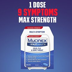 Mucinex Fast-Max Cold, Flu, Sore Throat Caplets, 20ct