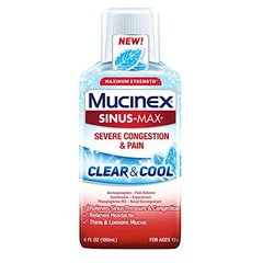 Mucinex Sinus-Max Clear & Cool Max Strength Severe Congestion & Pain Liquid, 6oz