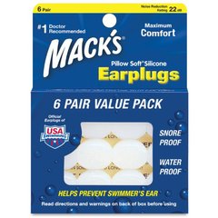 Mack's Pillow Soft Earplugs White 6 Pairs