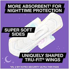 U by Kotex Ultra Thin Overnight Cleanwear Pads with Wings-14 ct