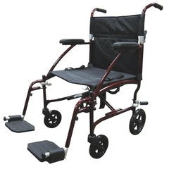 Drive Medical Fly Lite Ultra Lightweight Transport Wheelchair, Red Frame, 19""