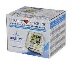 Blue Jay Perfect Measure Fully Automatic Wrist Blood Pressure Monitor, One Touch Activation, Irregu