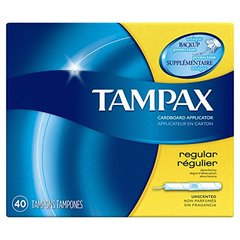 Tampax Cardboard Applicator Tampons, Regular Absorbency, 40 Count