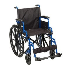 "Drive Medical Blue Streak Wheelchair with Flip Back Desk Arms, Swing Away Footrests, 18"" Seat"