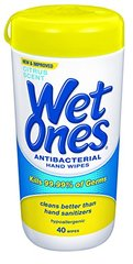 Wet Ones Citrus Antibacterial Hand and Face Wipes Canister, 40 Count