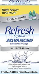 Refresh Optive ADVANCED Lubricant Eye Drops, 2 Bottles 0.33 fl oz (10mL) each Sterile (20mL)