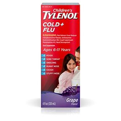 Children's Tylenol Oral Suspension Kids' Cold and Flu Medicine, Grape, 4 Fluid Ounce