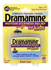 Dramamine Motion Sickness Relief for Kids | Grape Flavor | 8 Count | Children's Chewable Formula to