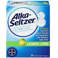 Alka-Seltzer Heartburn Relief 36 Effervescent Tablets, Lemon Lime