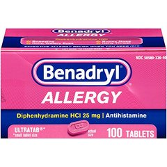 Benadryl Ultratab Antihistamine Allergy Medicine Tablets, 100 count