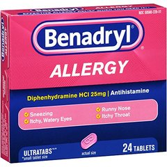 Benadryl Ultratab Antihistamine Allergy Medicine Tablets, 24Count