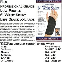 Florida Orthopedics Prolite Low Profile Wrist Splint, Black, Left X-Large