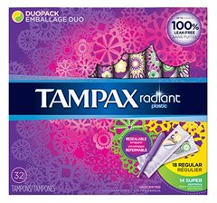 Tampax Tampons Radiant Duo-Pack 32 Count (18 Regular + 14 Super)