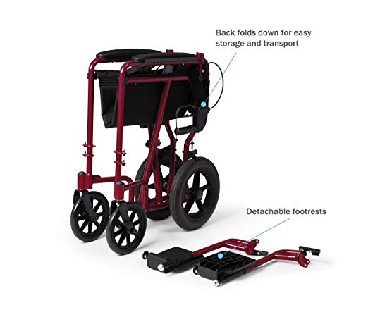 Companion wheelchair - Lightweight Transport Adult Folding Wheelchair with Handbrakes