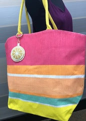 BEACH BAG WITH LEMON KEY CHAIN