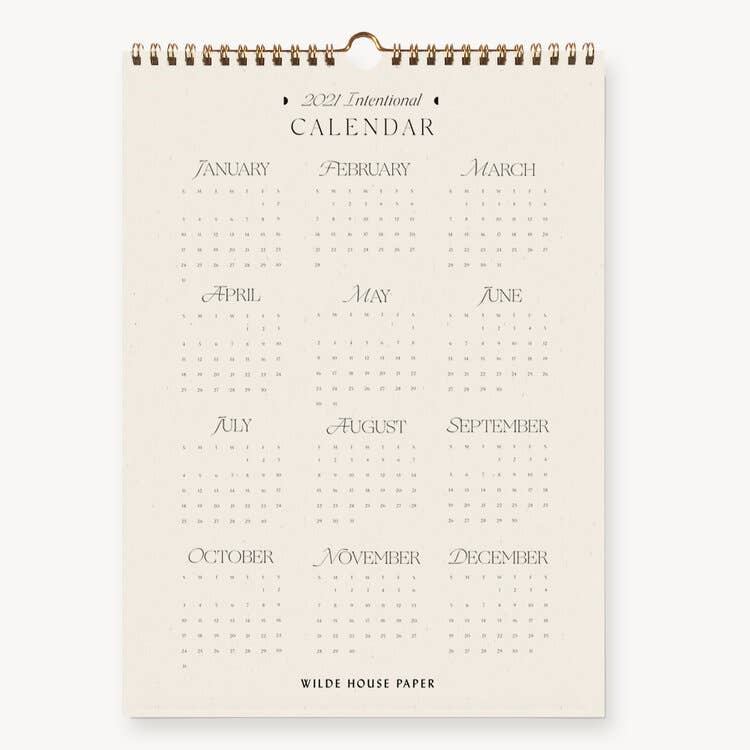 2021 Intentional Wall Calendar by Wilde House Paper