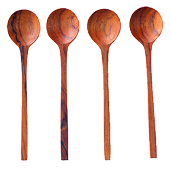 Thin Natural Teak Teaspoons Set of 4