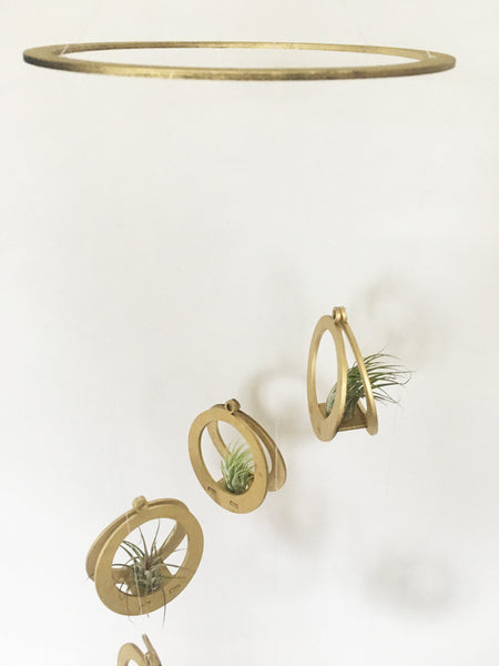 Handcrafted Gold Circle Air Plants Baby Mobile
