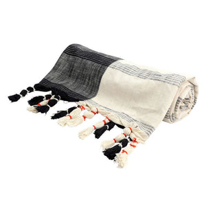 Black + Cream Woven Tassel Throw