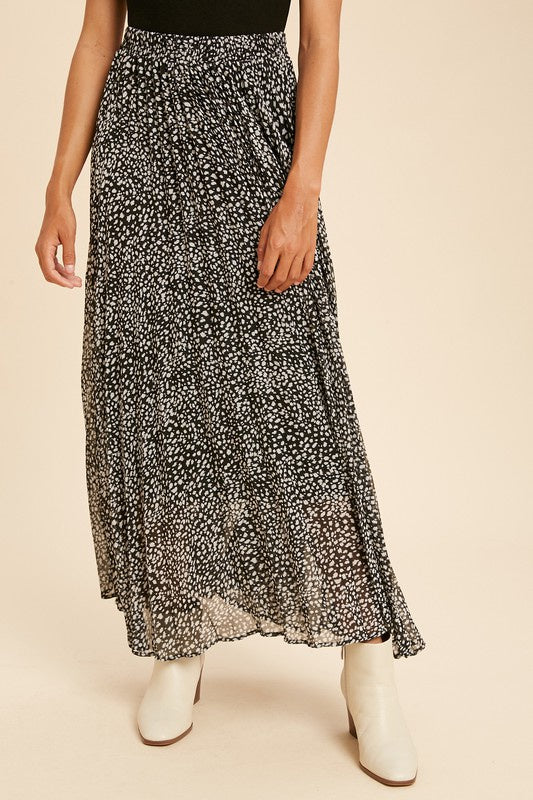 The Ani Leopard Print Pleated Skirt