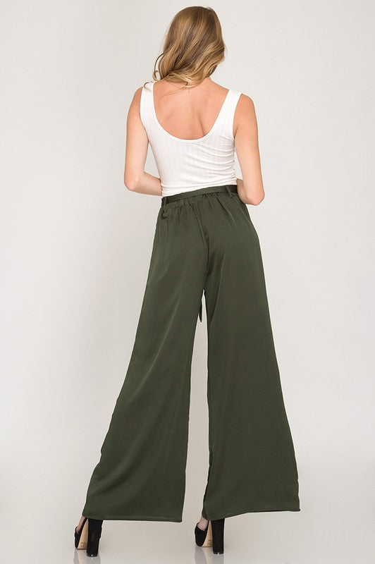The Ruby Satin Wide Leg Pants
