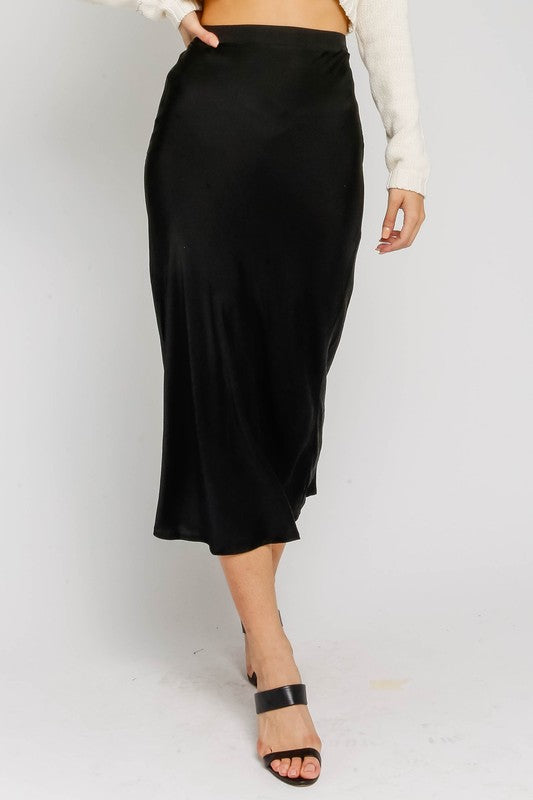 The Stephanie Satin Midi Skirt