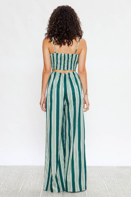 The Daisy Striped Smocked Open Back Jumpsuit