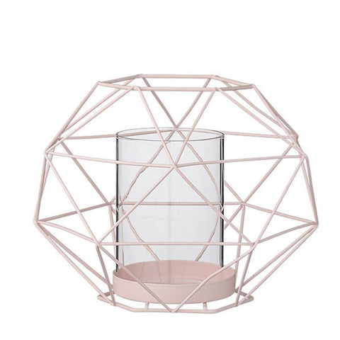 Geometric Metal Candle Holder - Pale Pink