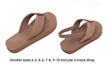 Toddler/Kid's Dark Brown Leather Sandals with Back Strap by Rainbow
