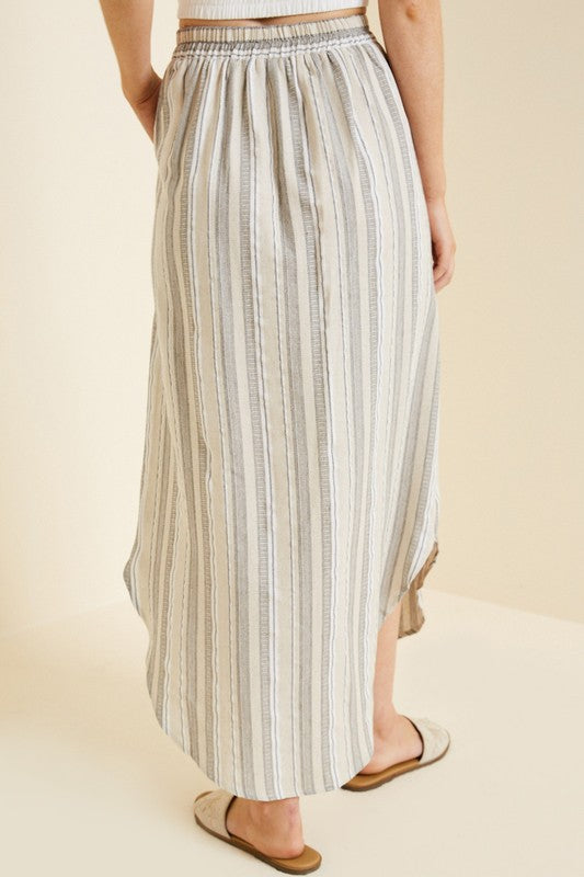 The Eudora Striped Button Down Midi Skirt