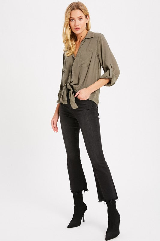 The Sheena Tie Front Boyfriend Top