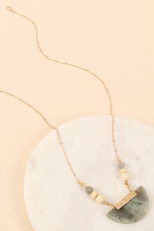 The Sara Semi Circle Stone Pendant Necklace