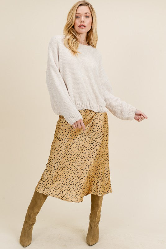 The Monica Satin Leopard Print Midi Skirt