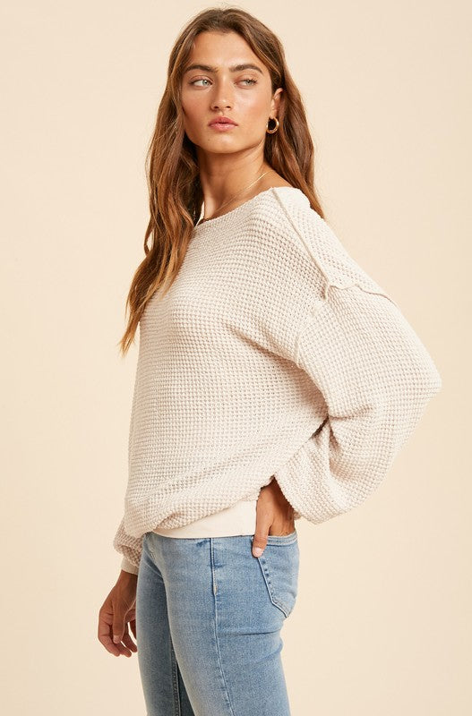 The Mandy Waffle Knit Boat Neck Top