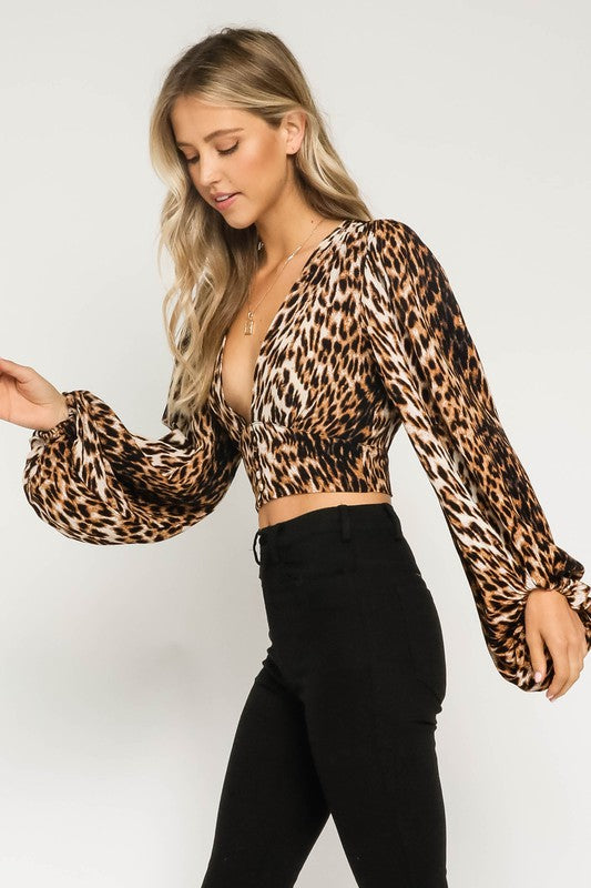 The Kristin Leopard Cropped Blouse