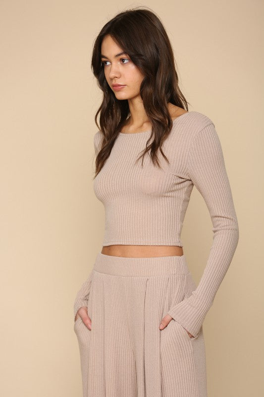 The Tracie Wide Leg Ribbed Pants
