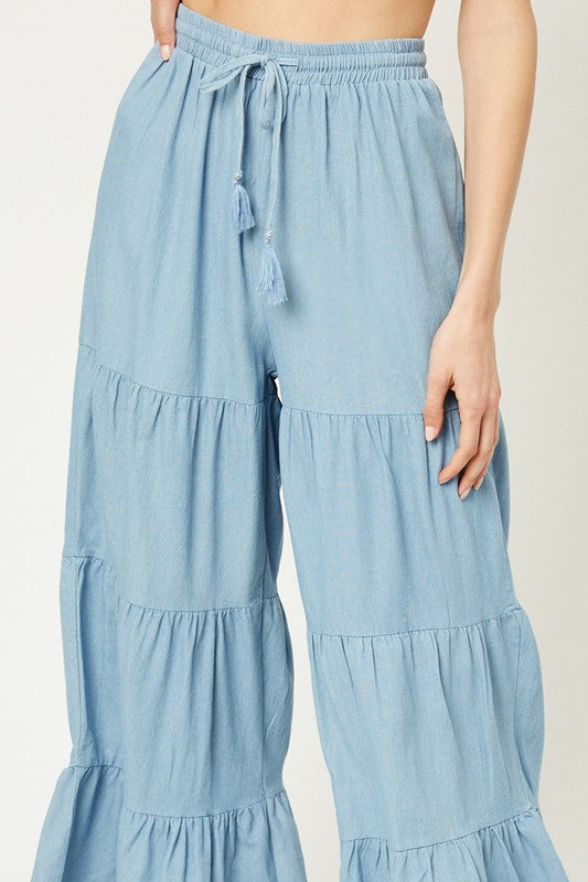 The Calista Tiered Chambray Pants