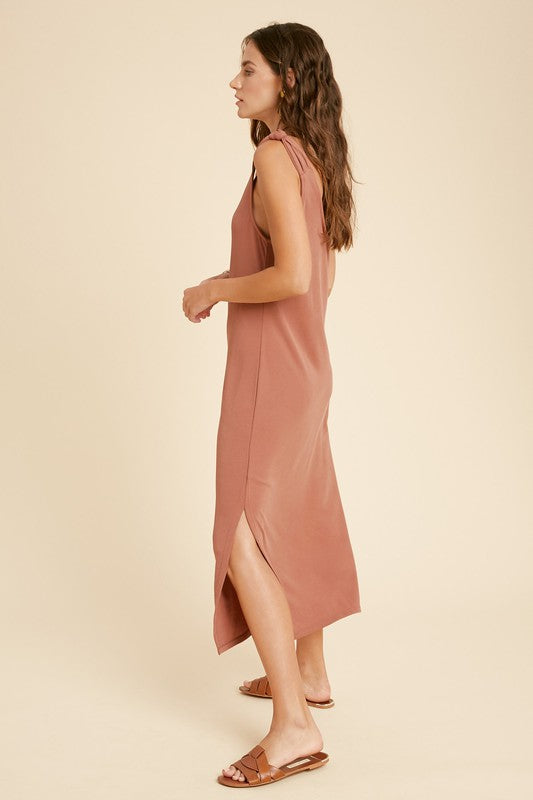 The Dottie Knotted Shoulder Midi Dress