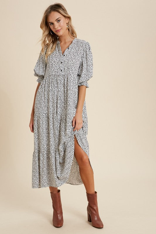 The Johanna Leopard Puff Sleeve Dress