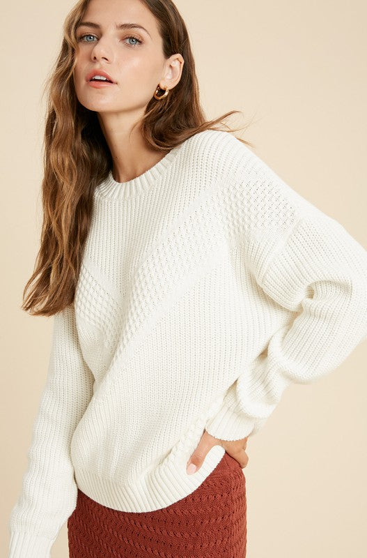 The Kendall Multi-Textured Chevron Sweater