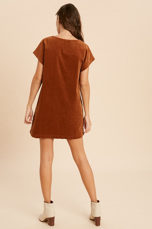 The Foxy Cord Side Button Dress