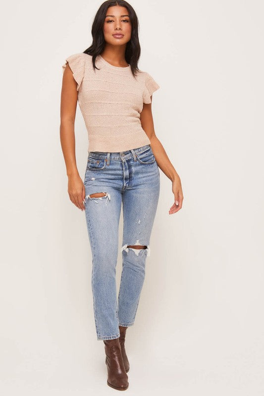The Calli Ruffle Knit Top