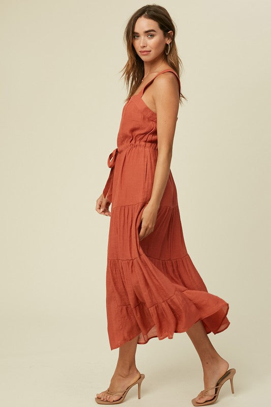 The Daphne Texture Tiered Midi Dress