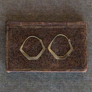 Hexagon Brass Earrings