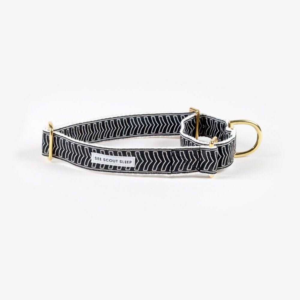 Black + Cream Chef L'Bark Martingale Collar by See Scout Sleep