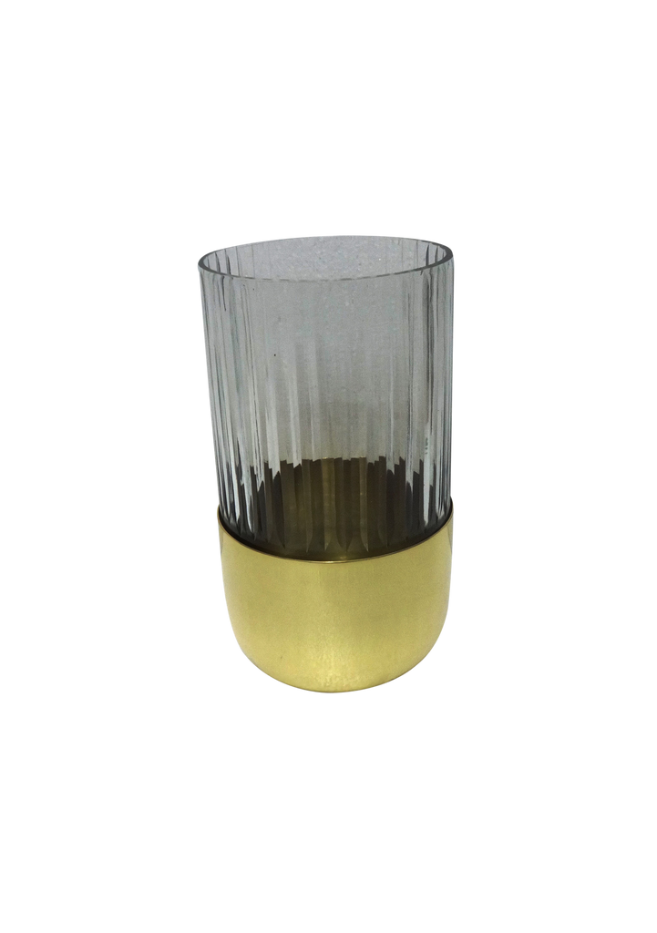 Large Gold-Bottom Etuched Glass Vase