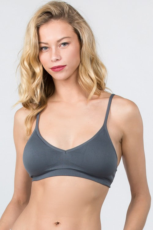 The Hannah Seamless V Bralette - Select Colors