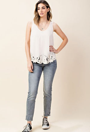 Anna Embroidered Cut out Tank